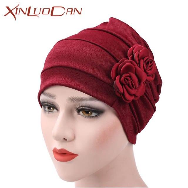 6c9b186ee92 New Womens Beanies Flower Chemo Hats Turbans Muslim Hat Head Wrap Caps  Beanie Head Scarf Bonnet