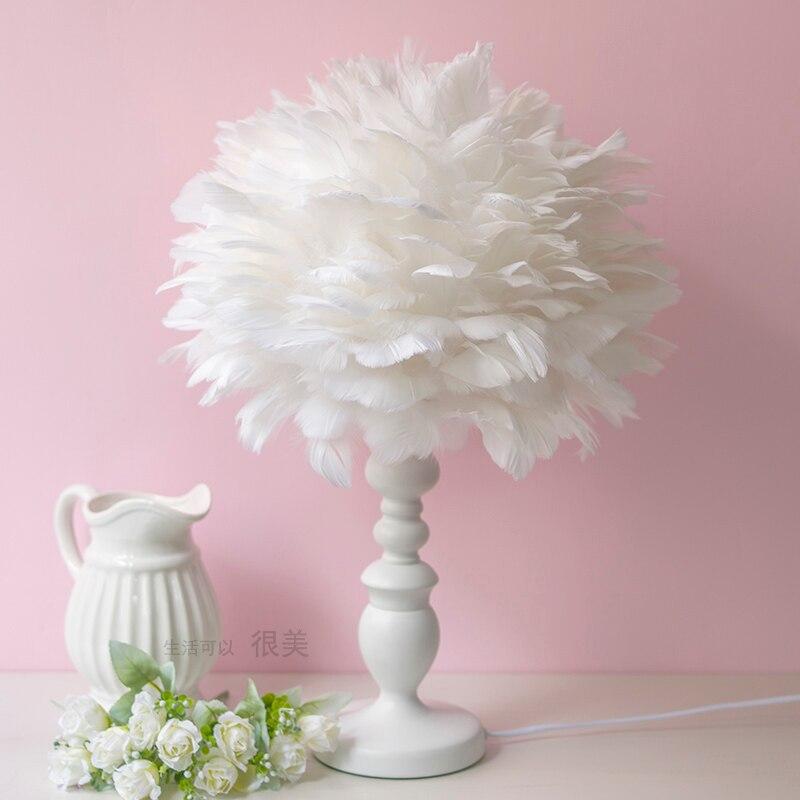 Moderne rose blanc plumes lampe de table chambre chevet hôtel boutique maison lampes de table mode créative lampe de table ZA82110 - 3