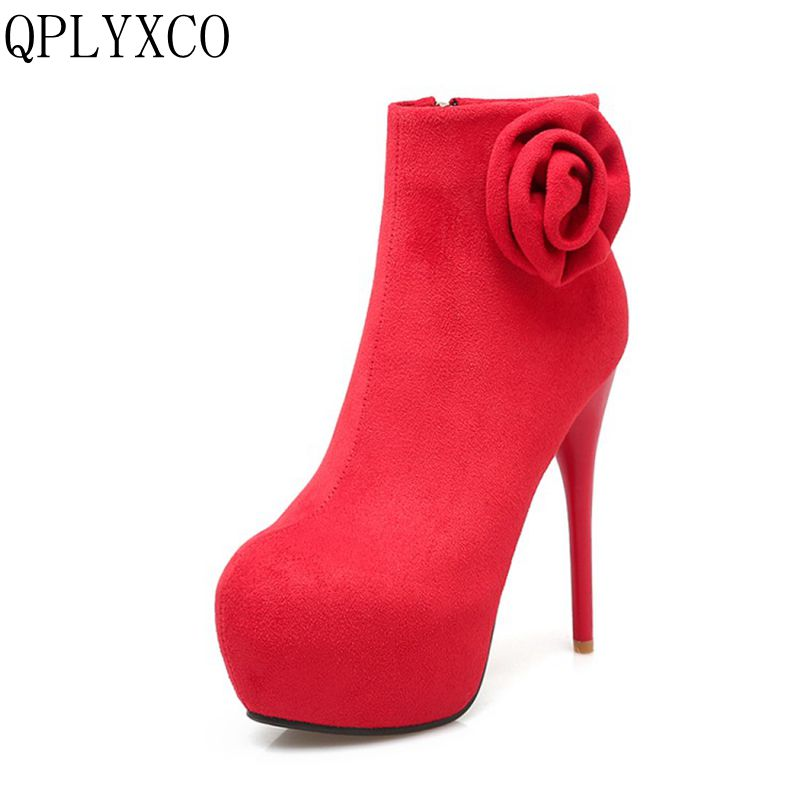 QPLYXCO New Big small size 31-46 ankle ankle boots for women winter Sexy shoes high heels(13.5cm) sweet wedding mujer shoes X11 new coming small size portable infrared breast detector for women self exam