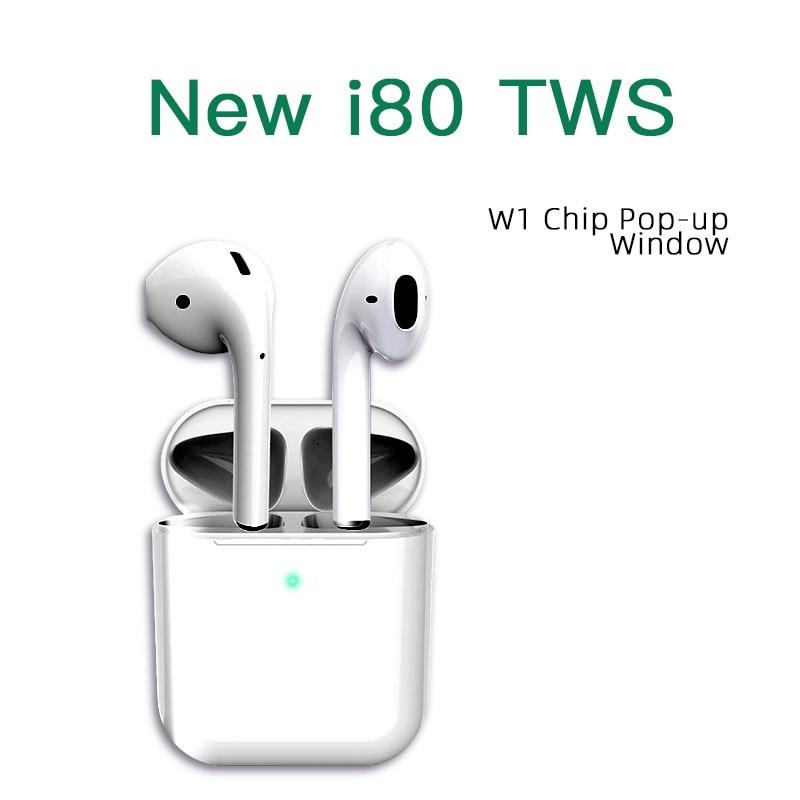Nouveau 1:1 Air 2 Pods écouteur W1 puce 5.0 Bluetooth casque i80 Pop up TWS earnuds casque sans fil pour iPhone tous les téléphones intelligents