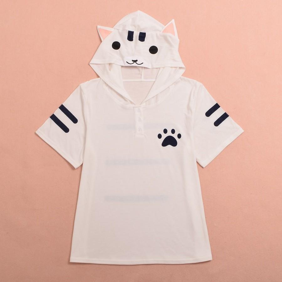 Cat Pattern Ears Hooded Shirt (10)