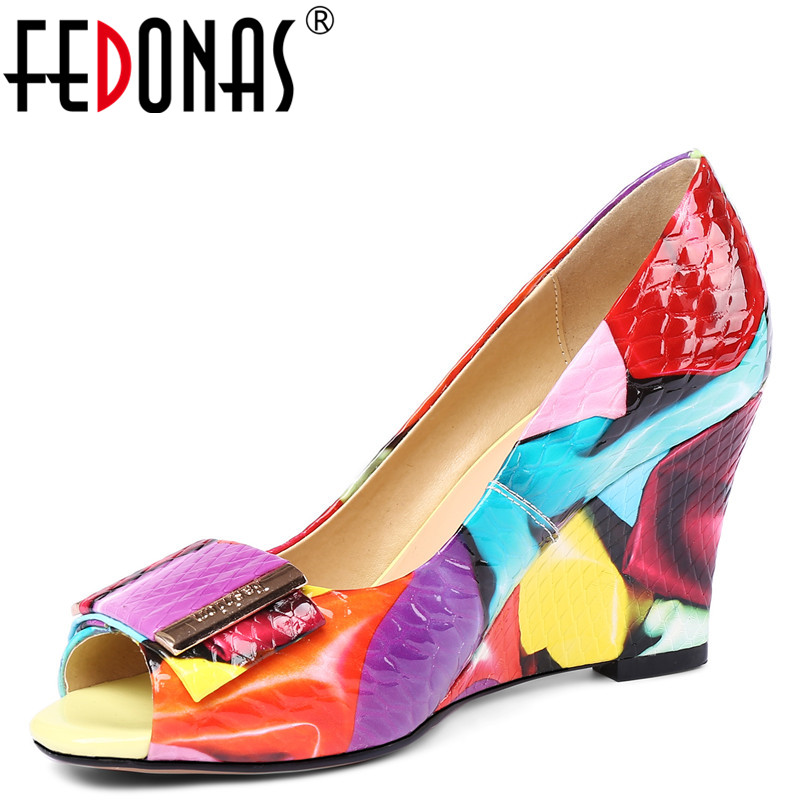FEDONAS1New Arrival Women Peep Toe Pumps Genuine Leather Summer Wedges High Heels Shoes Woman Quality Butterfly