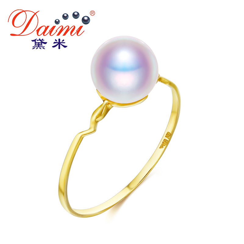 DAIMI Genuine 18K Pearl Ring 5-5.5mm Freshwater Pearl Ring 18k Pure Yellow Gold Ring 1000pcs 0402 18k 18k ohm 5