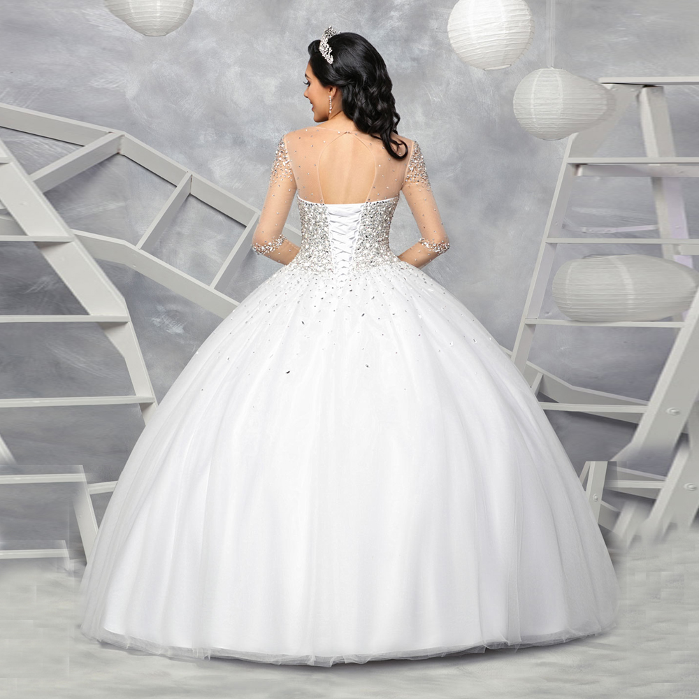 Vestido De 15 Anos Sheer Neck Tulle Crystal Beading Robe De Soiree Backless Ball Gown Quinceanera Dresses Full Sleeve Prom Gowns