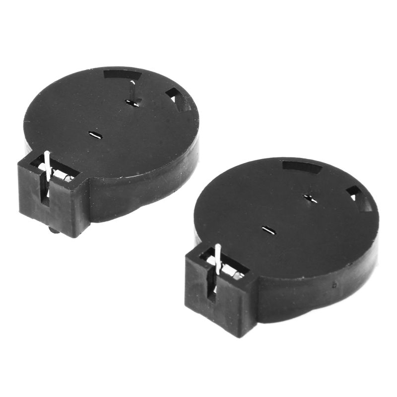 2 Pcs CR2450 Coin Cell Button Battery Socket Holder Case 2 Pins Black