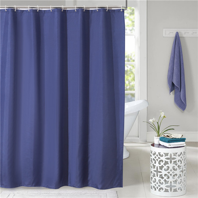 Solid Color Shower Curtain Thicker Polyester Curtains Navy Blue Bath 180x180cm High Quality Rideaux