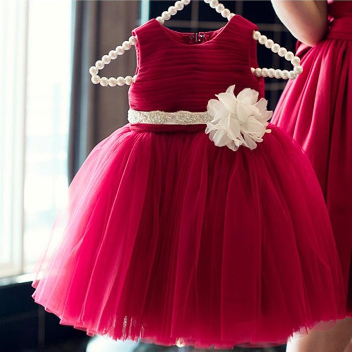 Borgoña vestidos de niña para bodas Una Línea de Scoop con La Flor Sashes Plisado vestidos