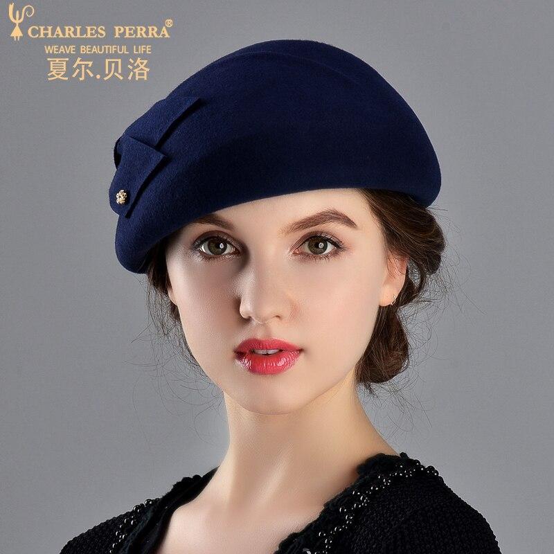 Charles Perra femmes mode chapeau 2019 nouveau automne hiver béret élégant dame Fedoras garder au chaud décontracté laine chapeaux casquettes 5716 - 5