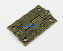 10 Pieces Antique Brass Jewelry Box Hinge 36x23mm with Screws