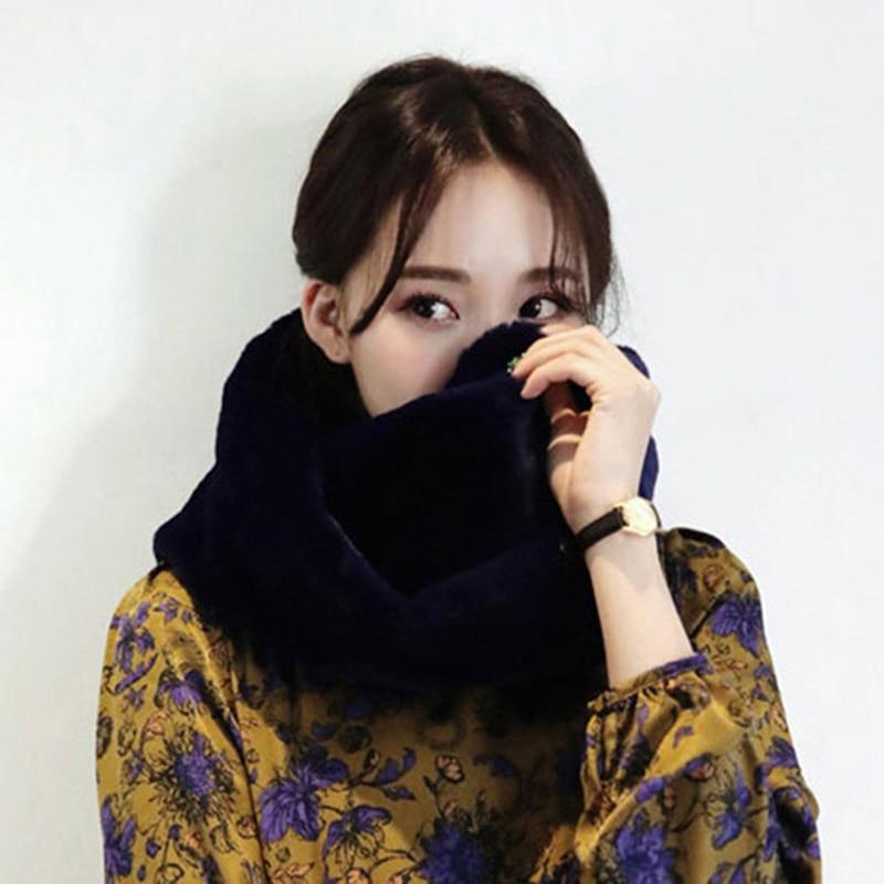 BONJEAN Luxury Brand Women   Scarf   Faux Fur Collar Winter Summer Warm Neck Warmer Ring   Scarf     Wrap   2018 Ladies Girls Fur   Scarf