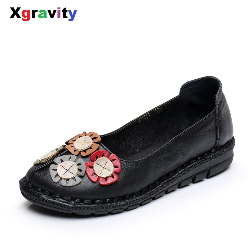 Xgravity Hot Summer Autumn Fashion Flower Round Toe Flat Shoes Vintage Genuine Leather Women Flats Girl Loafer Flats C088 golden sequins shoes female loafer girl s fashion platform shoes women neon boat shoes woman flat low shoes autumn spring summer