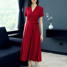 Solid v-neck a line party dress 2018 new runway women summer dress high quality office lady long dress silk print single breasted shirt dress 2018 new runway women summer dress high quality office lady a line dress