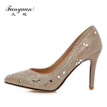 Fanyuan 2018 New Rhinestone High Heels Cinderella Shoes Women Pumps Pointed toe Woman Crystal bridal Wedding Shoes(China)
