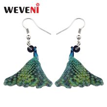 WEVENI Acrylic Elegant Peafowls Peacock Bird Earrings New Long Dangle Drop Fashion Animal Jewelry For Women Girls Tropic 2018(China)