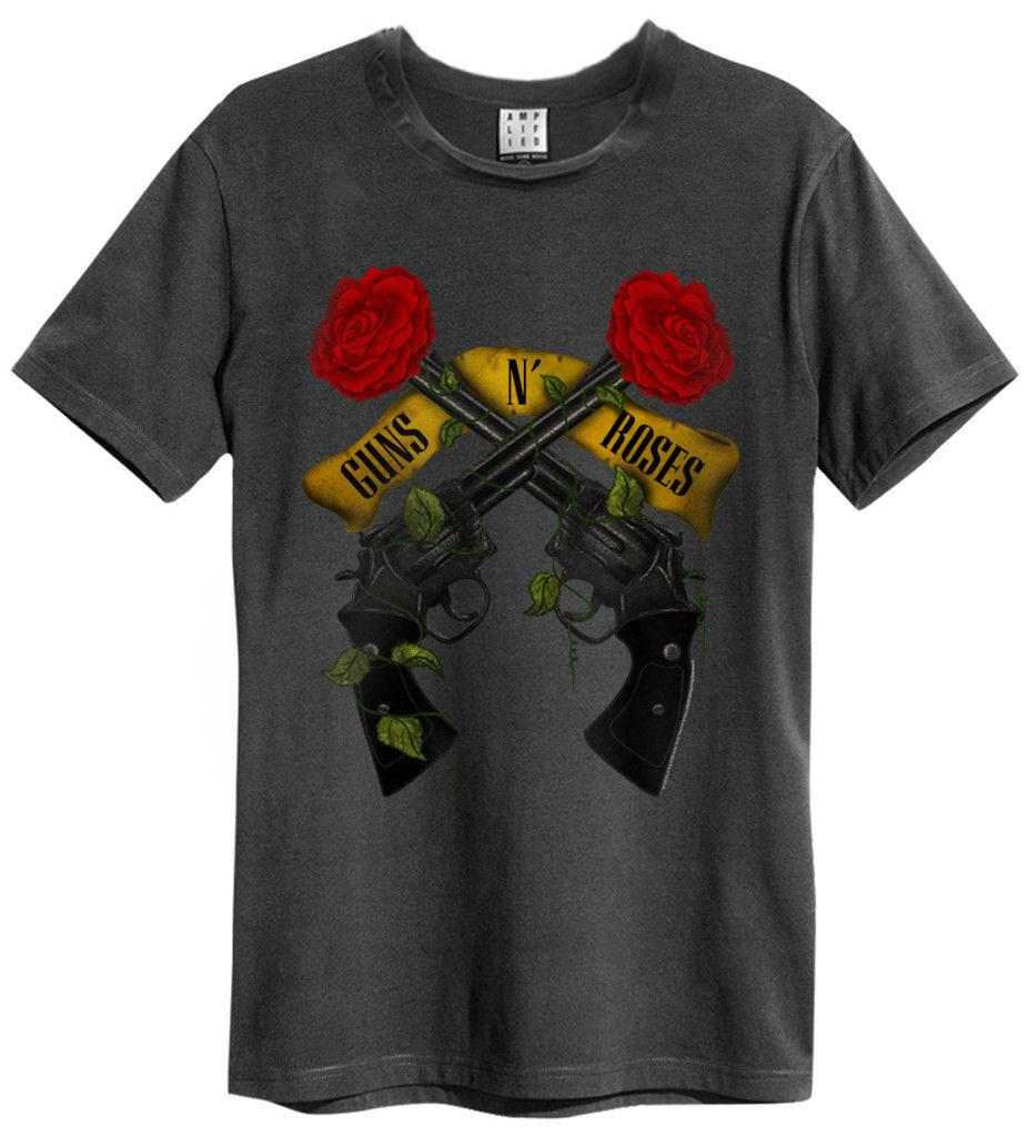 Custom T Shirts Cheap O-Neck Short Sleeve Fashion 2016 Mens Guns N Roses Shooting Roses T-Shirt Tee Shirts