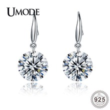 UMODE 2019 New 925 Sterling Silver Clear CZ Crystal Drop Earrings for Women Fashion Dangling Ear Jewelries 10mm/12mm ALE0344