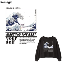 The Great Wave off Kanagawa cat Iron on Heat Transfer Print cute Sticker Clothes DIY Appliques Washable A-level Thermal Patches