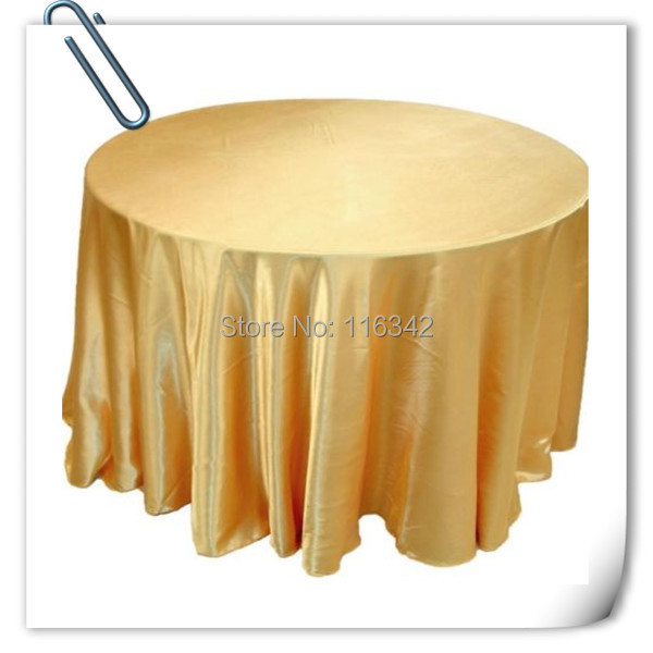 Retail cheap!!! Gold 108inch 10pcs Satin table cloth for weddings parties hotels restaurant Free Shipping MARIOUS ...