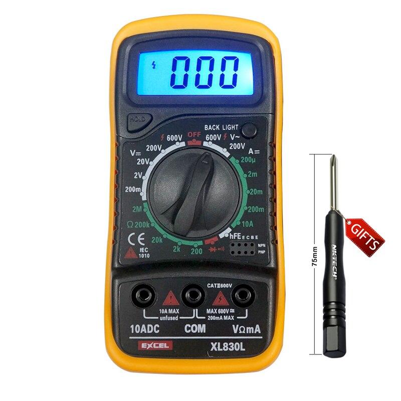 XL830L Digital Multimeter Portable multi meter AC/DC voltage meter DC Ammeter resistance tester Blue Backlight uyigao ua78d digital multimeter resistance capacitance inductance lcr multi meter tester with backlight
