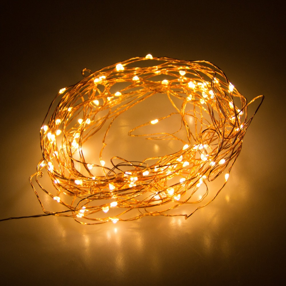 Dc 12V 10M 100 Led Copper Wire Led String Fairy Lights Lamp With Uk/Us