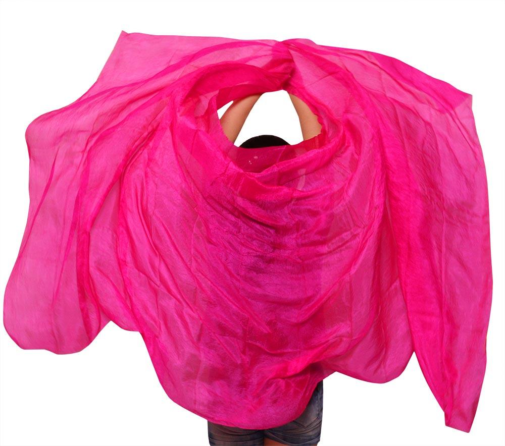 100% Silk Belly Dance Veil Dance Veils Solid Colour Bellydance Costume Silk Shawl Scarf Belly Dance Props Rose Color 250*114 Cm
