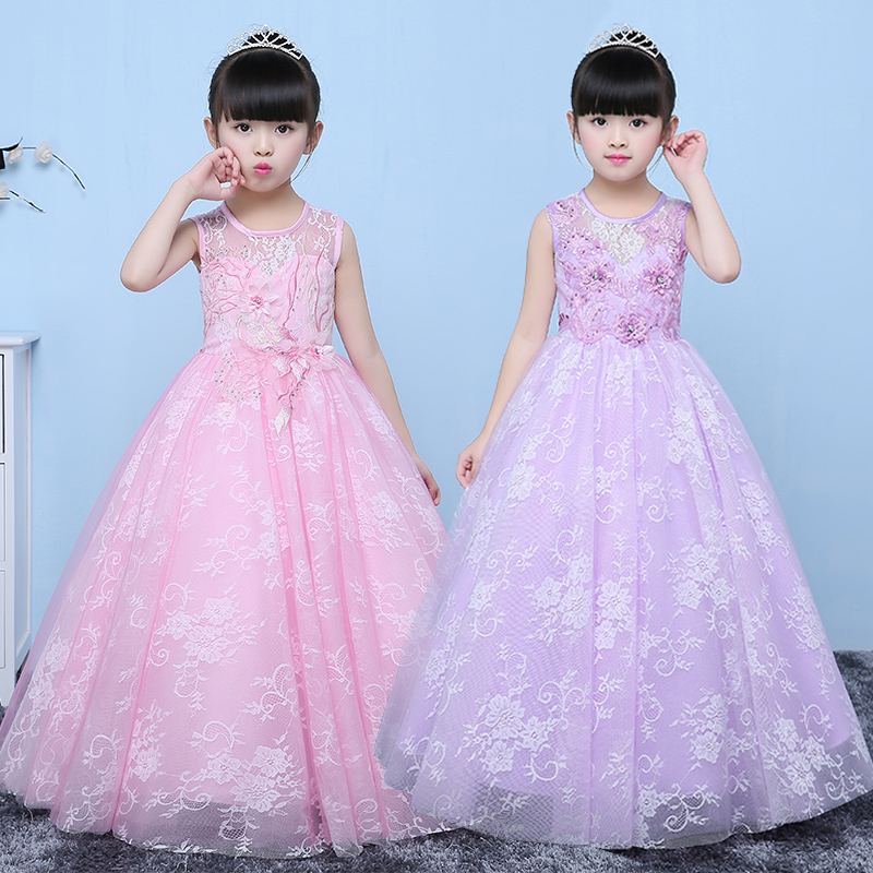 2017 New girls party dress kids designer children teenagers party ceremonies Ball gowns dresses birthday princess lace dress