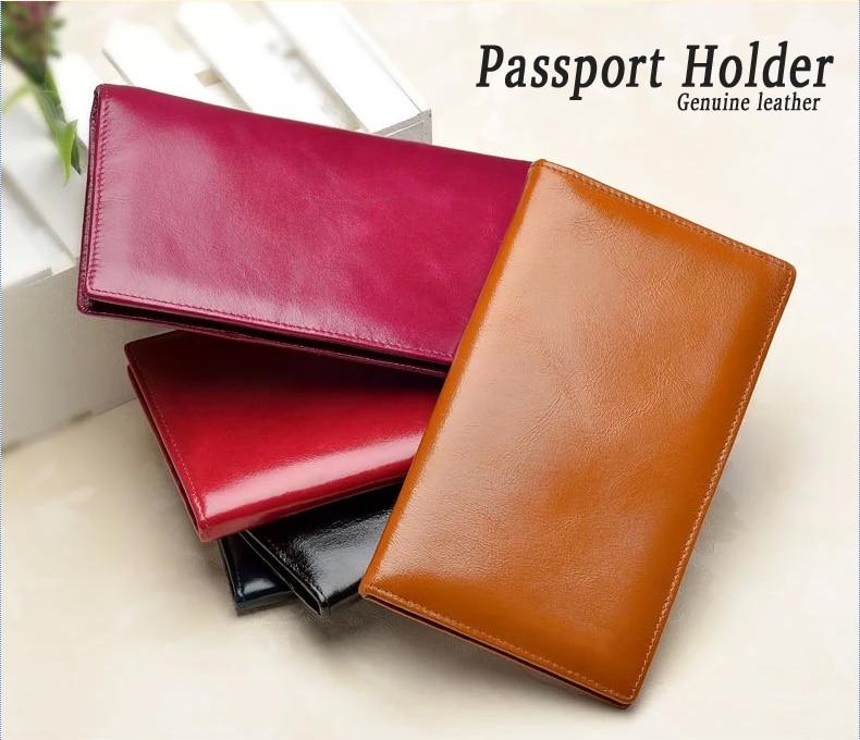 New Women  Men Excellent Genuine Leather Travel Passport Holder Cover Document Bag Passport Wallet Money Clip Free Shipping