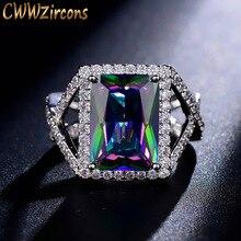 CWWZircons роскошное Сверкающее кольцо с большой квадратной огранкой мистическая Радуга огненный кристалл обручальное и обручальное кольцо для женщин R027