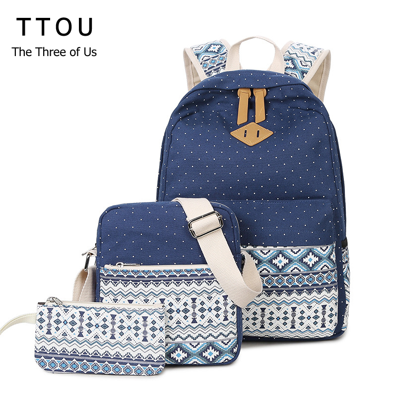 TTOU Canvas Printing Backpack Women School Backpack for Teenage Girls Cute Bookbags Laptop Backpacks 3 Piece one Set