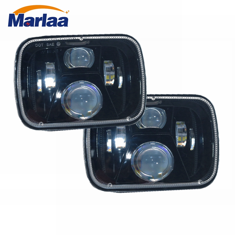 5x7 Led Headlight High Low Beam Headlamp For Jeep Wrangler YJ Cherokee XJ Trucks Replacement H6054 H5054 H6054LL 69822 6052 5 x7 6 x7 high low beam led headlights for jeep wrangler yj cherokee xj h6054 h5054 h6054ll 69822 6052 6053 with angel eye