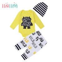 Noworodków Dziewczyny Boys Baby Love Letter Drukowane Strój Ładny Infantil Birthday Party Długie Rękawy Żółty Romper z Spodnie Kapelusz Zestaw
