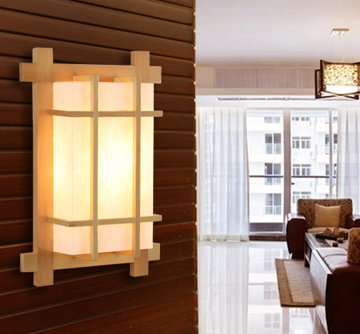 Chineses rustic burly wood wall lamps Modern brief design white parchment E27 LED lamp for bedroom&porch&stairs&studio QLBD004