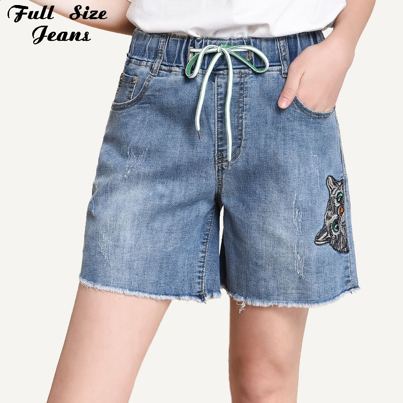 Women Plus Size Cute Cat Embroidery Lace Up Elastic Waist Short   Jeans   7Xl Summer Student Casual Loose Denim Shorts Bermuda Femme