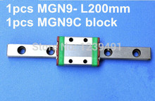 1pcs 9mm linear rail guide MGN9 200mm with 1pcs mini MGN9C linear block купить недорого в Москве
