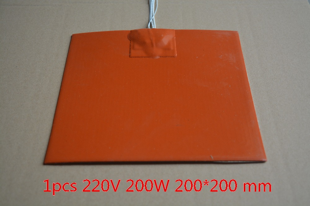 1PCS Silicone heating pad heater 220V 200W 200mmx200mm for 3d printer heat bed tyre repair tire heating board 180 300 10mm 220v 200w k type thermocouple silicone heating plate silicone heater electric heated