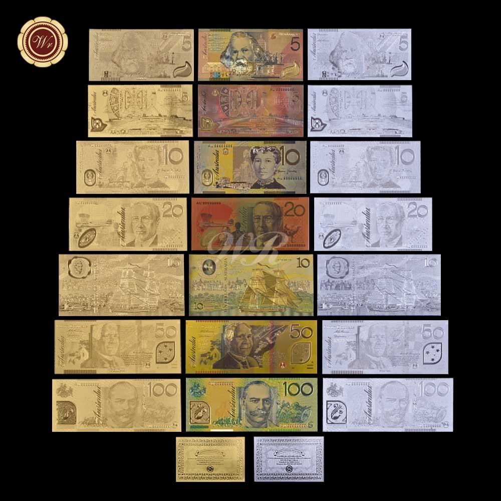 Zlaté a stříbrné a barevné nové sady australských bankovek 3 / - Dekorace interiéru