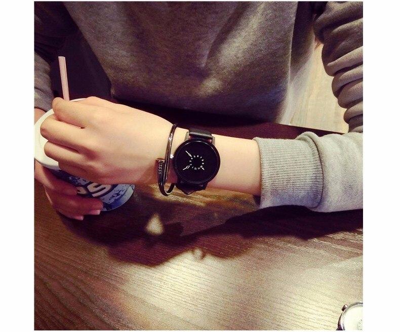 Hot fashion creative watches women men quartz-watch BGG brand unique dial design minimalist lovers' watch leather wristwatches 18