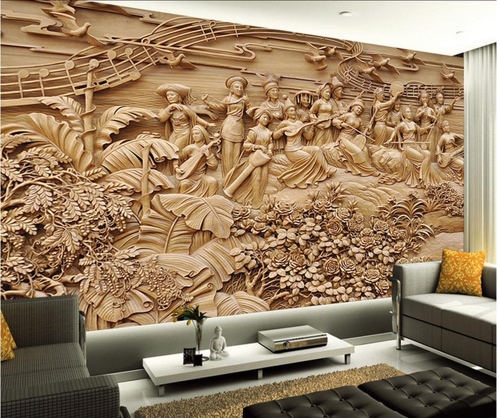 Custom photo wallpaper 3d stereo design of for woodcarving living