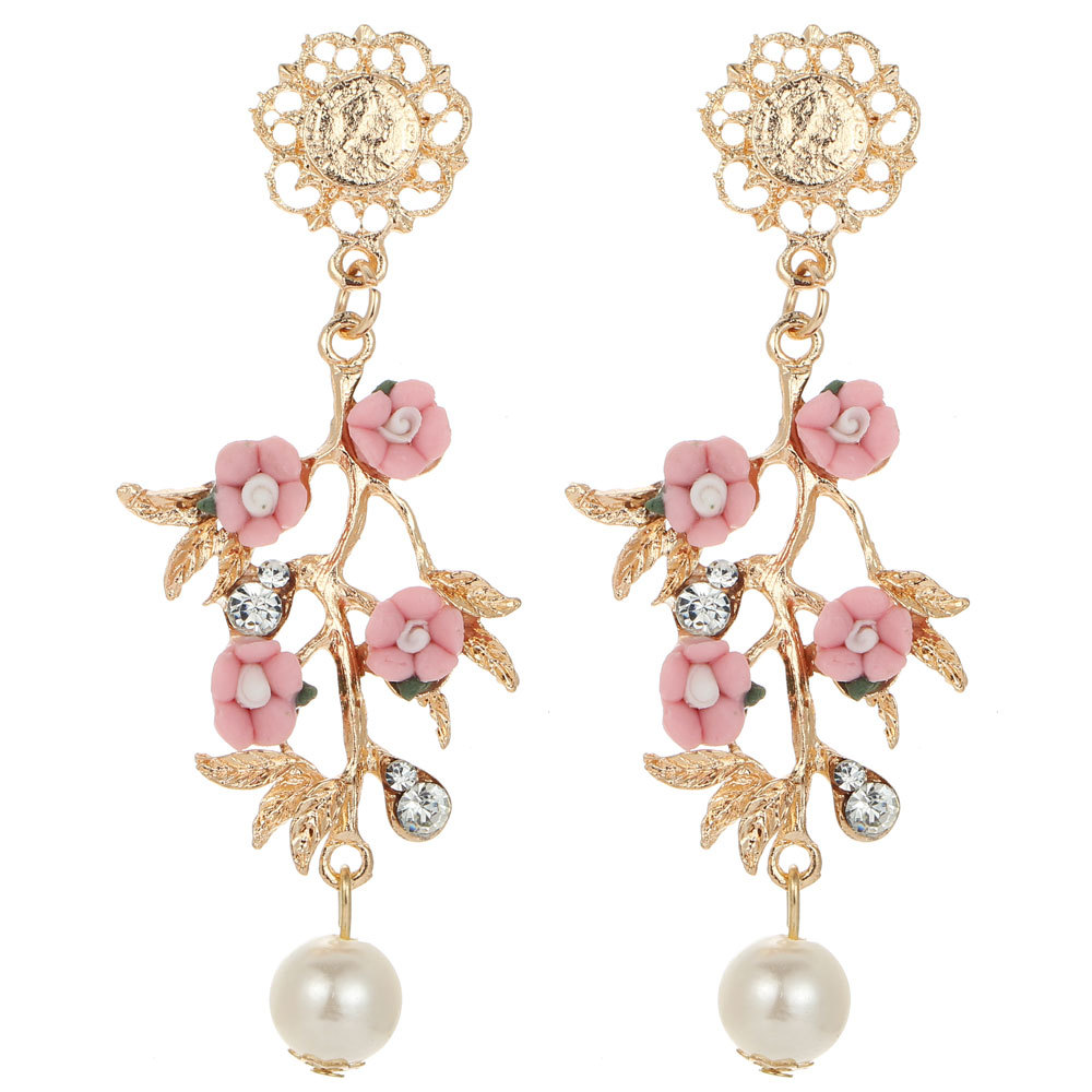 Hot Elegance Womens Fashion Pink Flower Earrings New Arrival With