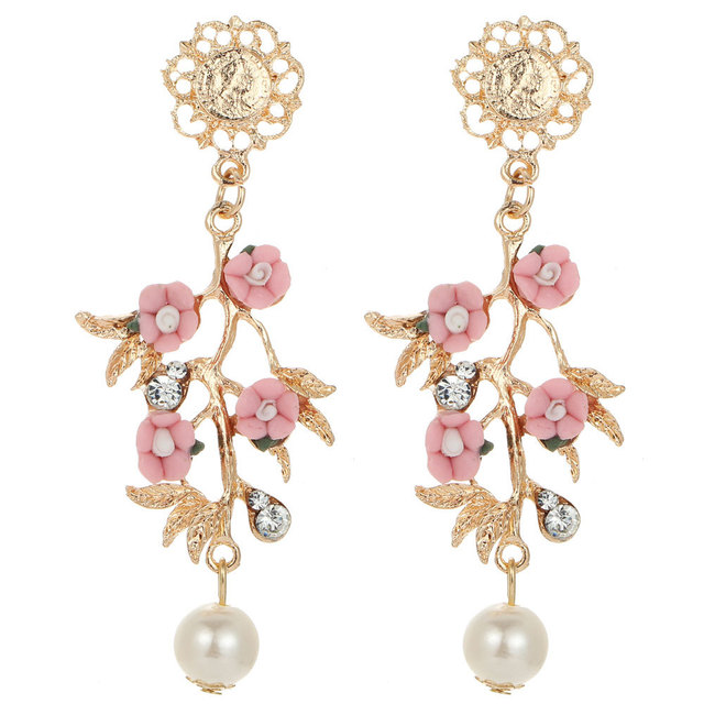 item with elegance pink crystal s hot arrival new dangle women gems drop earring earrings fashion flower