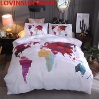 LOVINSUNSHINE 2018 New Design World Map Bedding set Printed White Duvet Cover Queen King Twin Size High Quality Bed Linen
