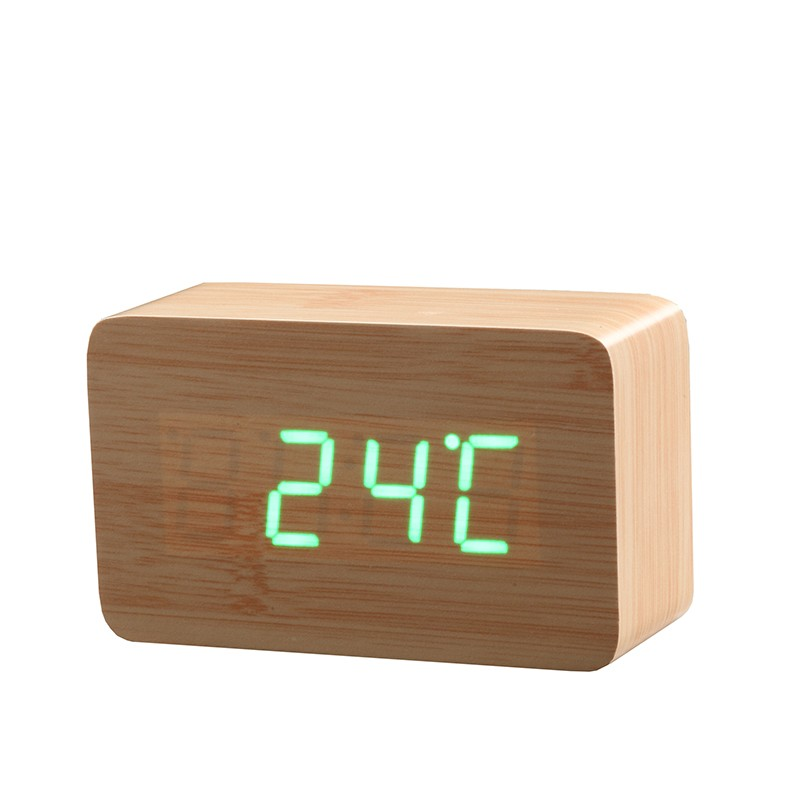 Bamboo LED Alarm Clock