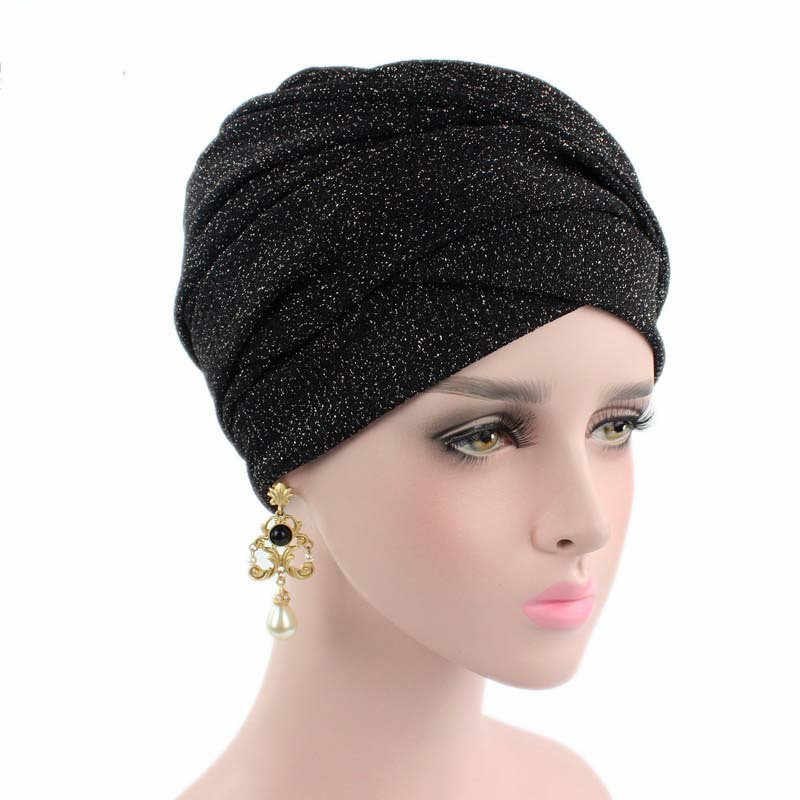 28d8a2d1be7 Fashion Breathable Mesh Muslim Turban Womens Shinny Long Scarf Stretch  Cloth Hair Loss Head Wrap Headdress
