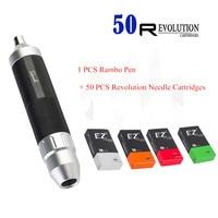 EZ Complete Cartridge Tattoo Machine Kit RCA Connection EZ RAMBO Pen with 50 PCS Assorted Revolution Needle Cartridges