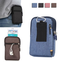 Smart Mobile Phone Bag 2 Pocket With Belt Clip Carabiner Universal Holster Phone Pouch Bag For