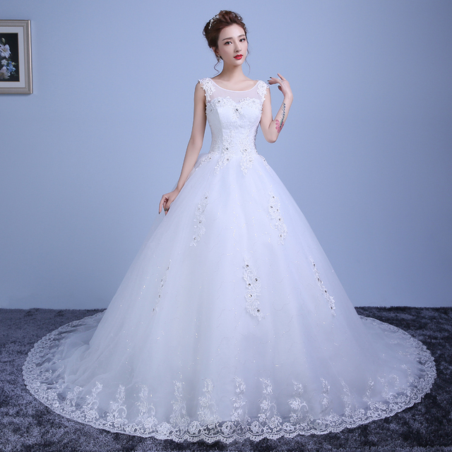 high quality elegant lace ball gown wedding dresses with train red ...
