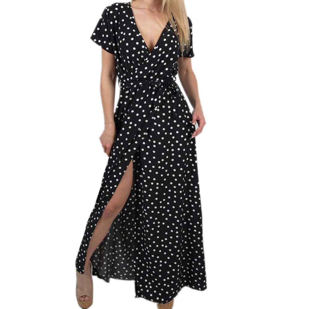 Litthing 2019 Summer Women Dress Boho Holiday Polka Dot Maxi V-neck Long Shirt Dress Sexy Short Sleeves Red Fashion Long Dress