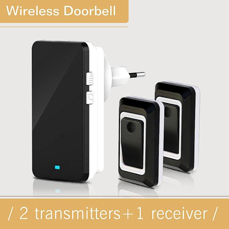 Saful Black US/EU Design Home Wireless Energy Saving Adjustable Sound Volume 2 Outdoor Transmitter + 1 Indoor Receiver Doorbell