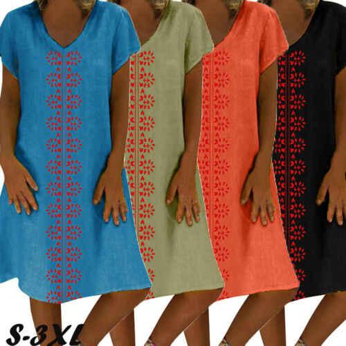 Mulheres Boho Floral de Algodão Na Altura Do Joelho Vestido de Verão Festa À Noite Praia Largas Kaftan Túnica Casual Vestido Plus Size