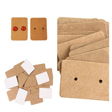 100Pcs 2.5*3.5cm Kraft Paper Ear Studs Hang Tag Jewelry Display Card Earring Ring Price Tags